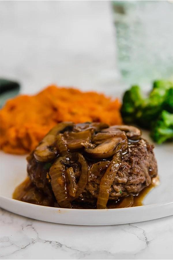 Hamburger Steak with Mashed Sweet Potato and Broccoli