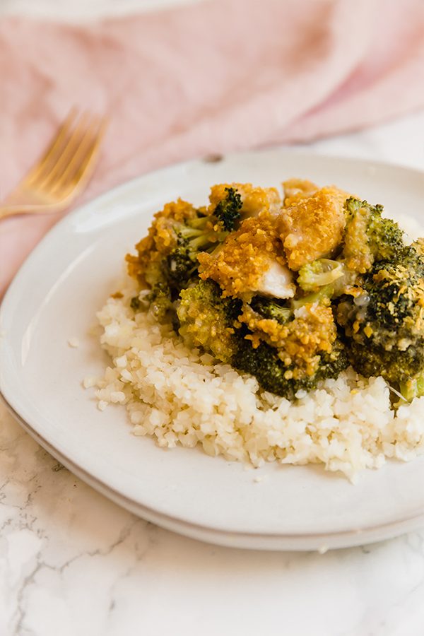 chicken divan over cauliflower rice