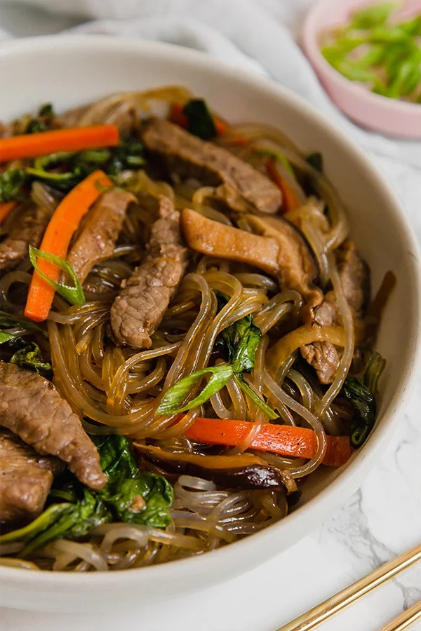 Japchae in bowl