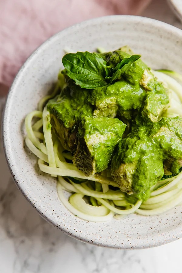 slow cooker chicken pesto