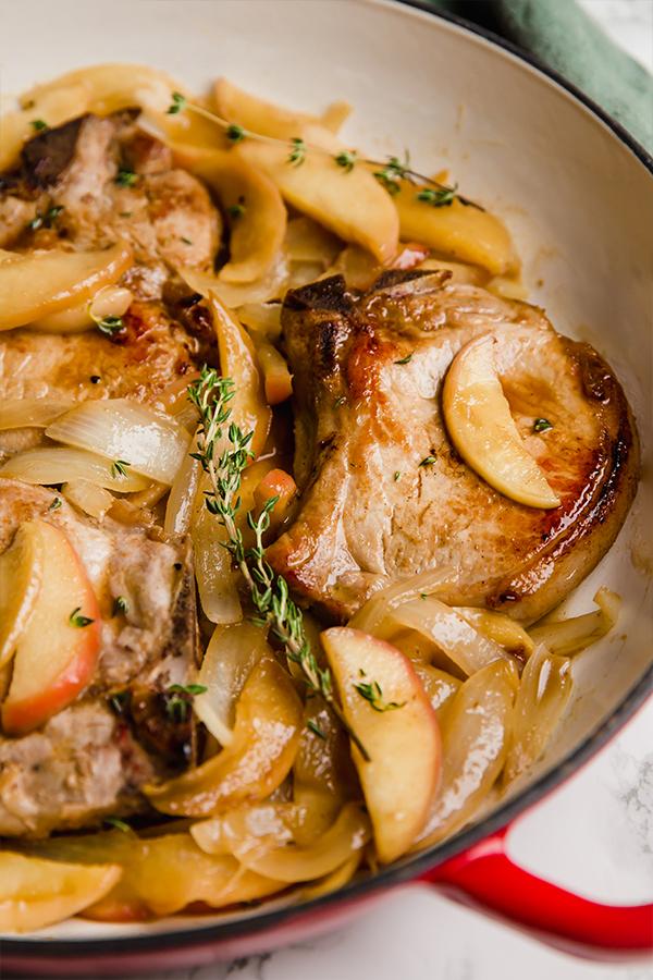Pork chops in pan