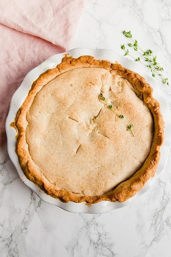 Chicken Pot Pie in pie pan