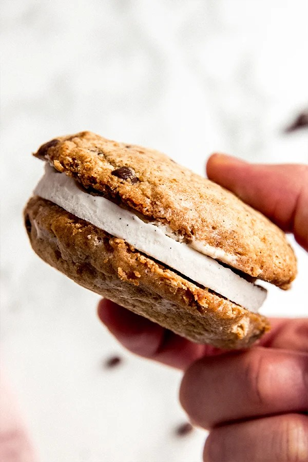 Ice cream sandwich in hand