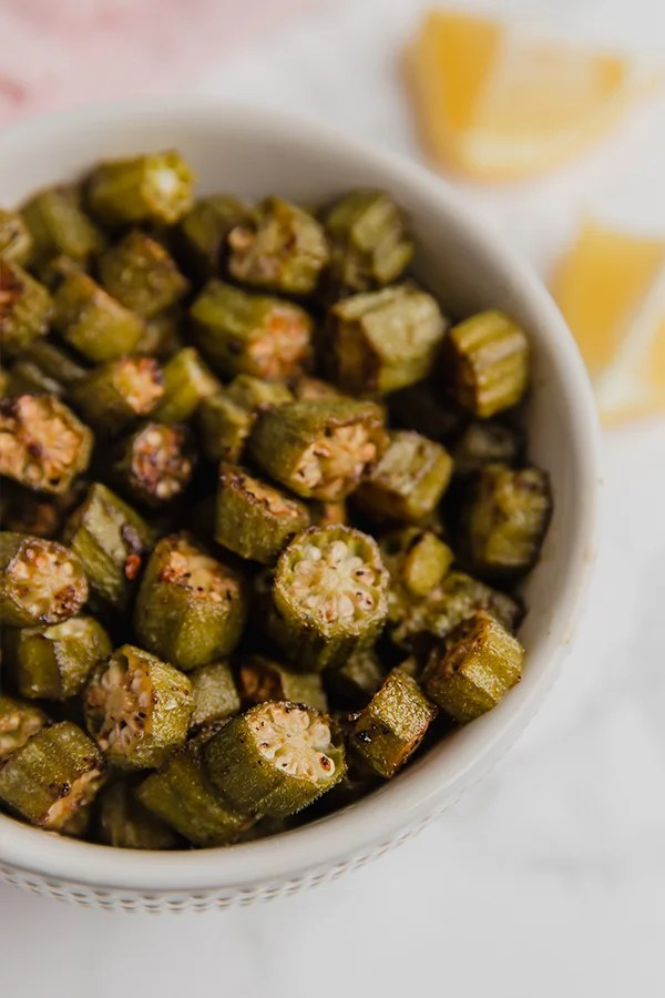 okra slices in bowl