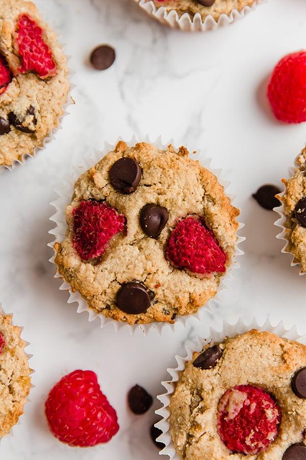 raspberry chocolate chip banana muffins