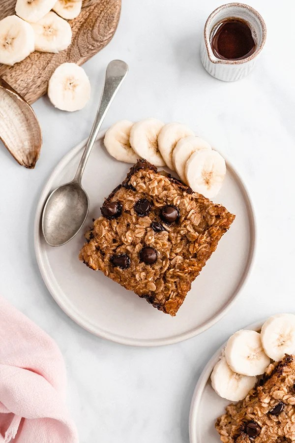 Baked Oatmeal on plate with bananas