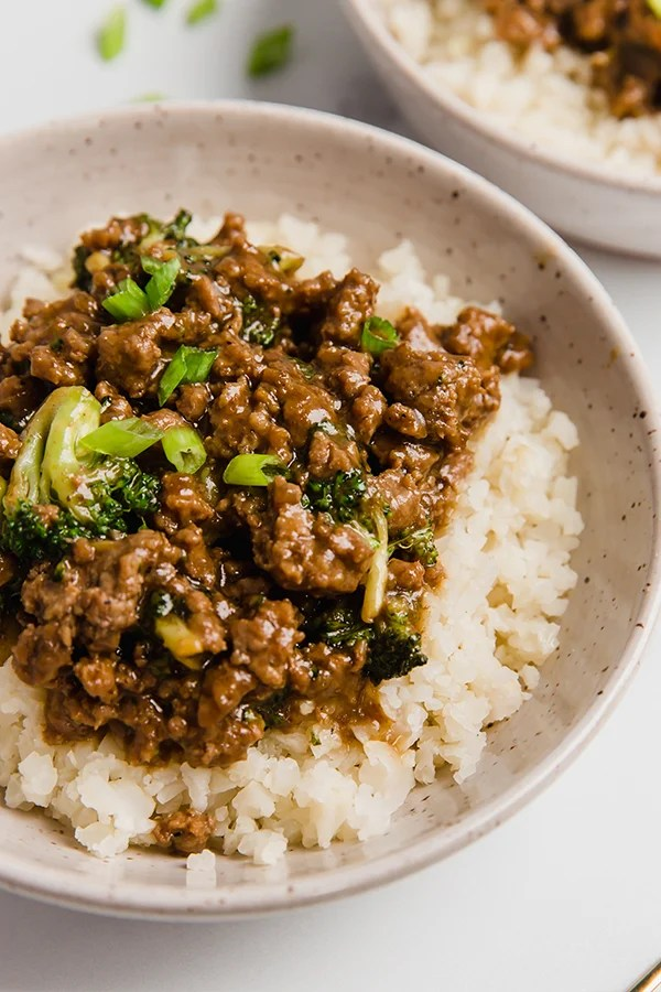 Ground beef and broccoli in a bowl