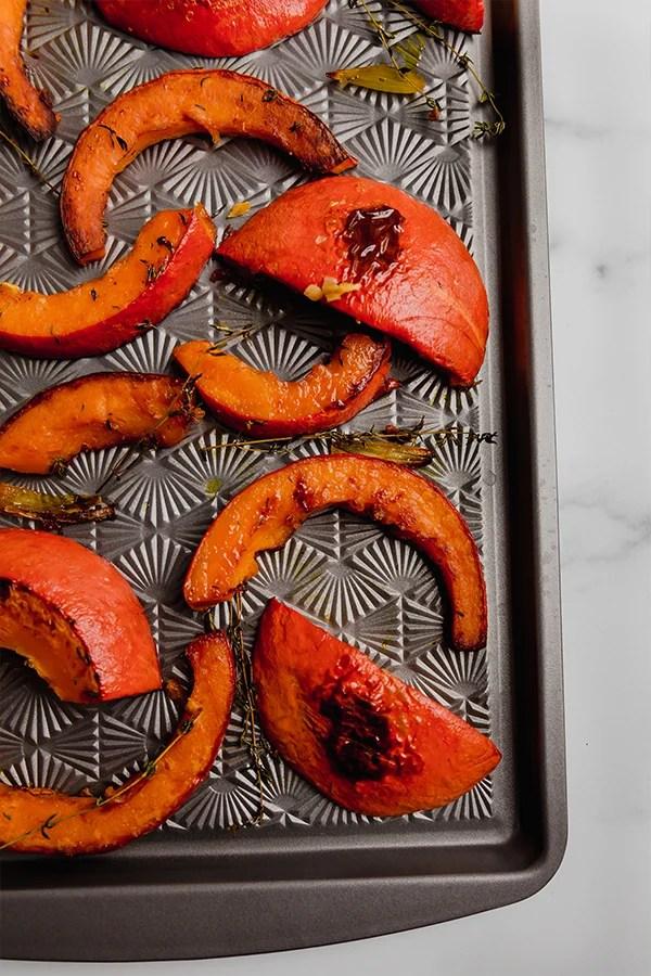 roasted red kuri squash on pan
