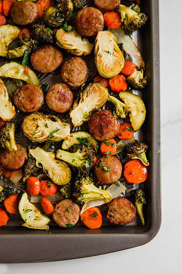 one pan sausage and vegetables in pan