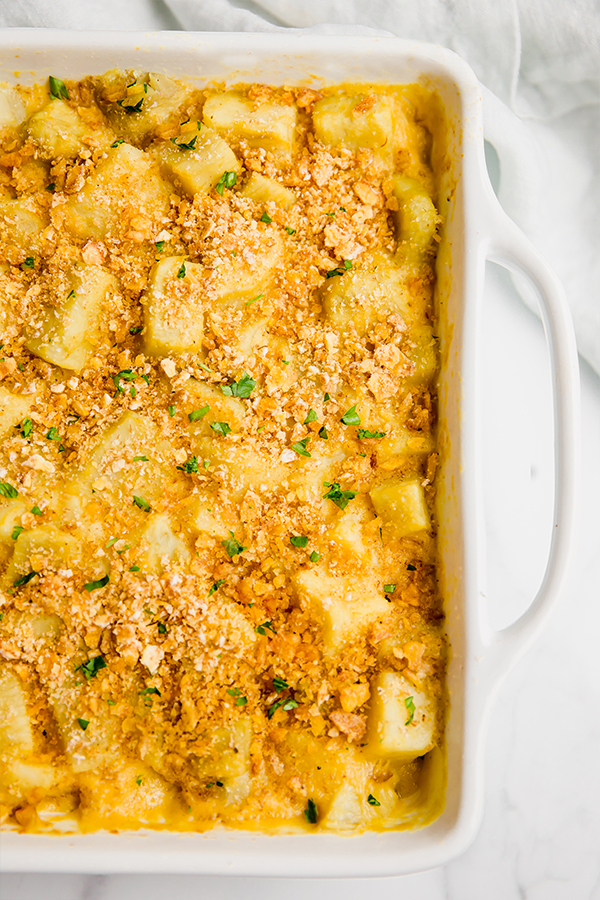 sweet potato casserole in a casserole dish