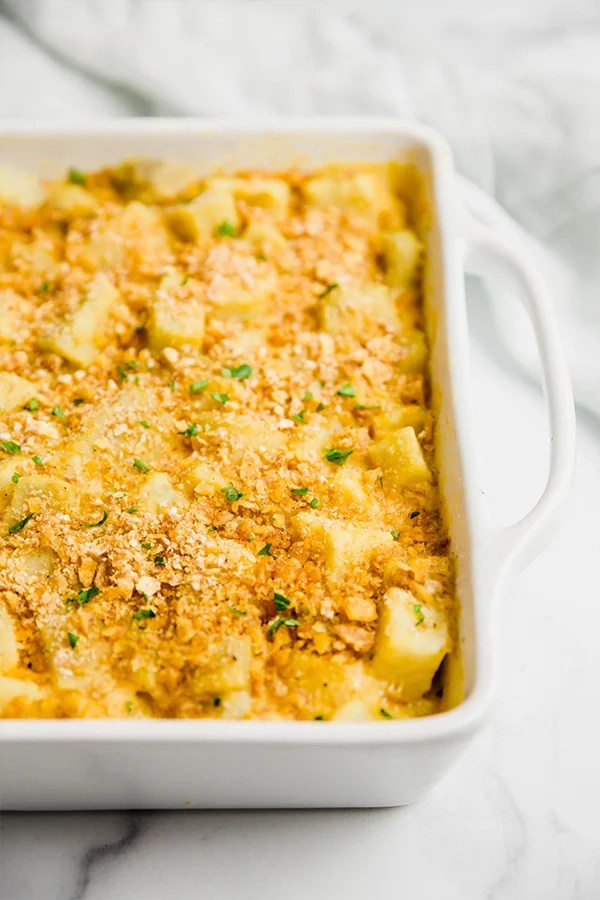 cheesy sweet potato casserole in baking dish