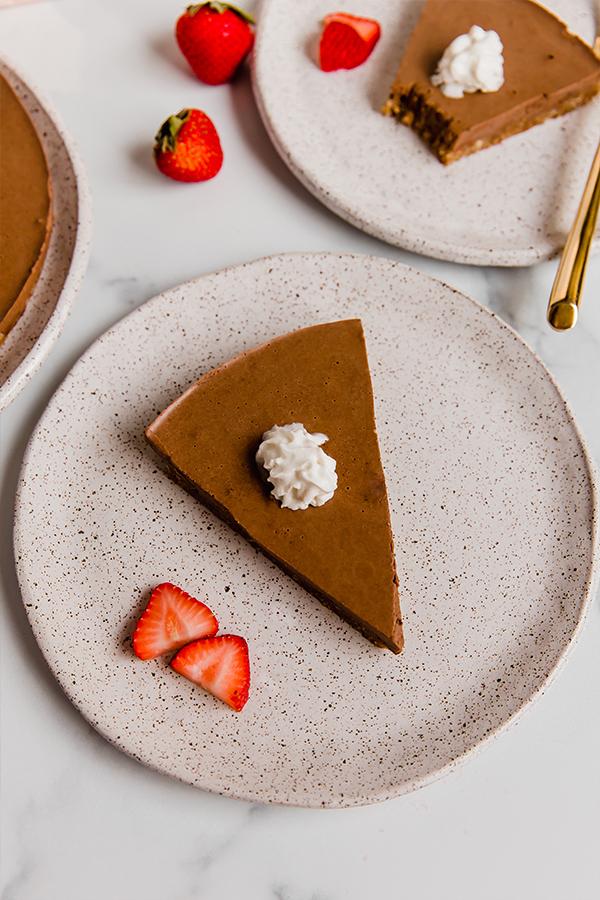 slice of no-bake chocolate pie on plate