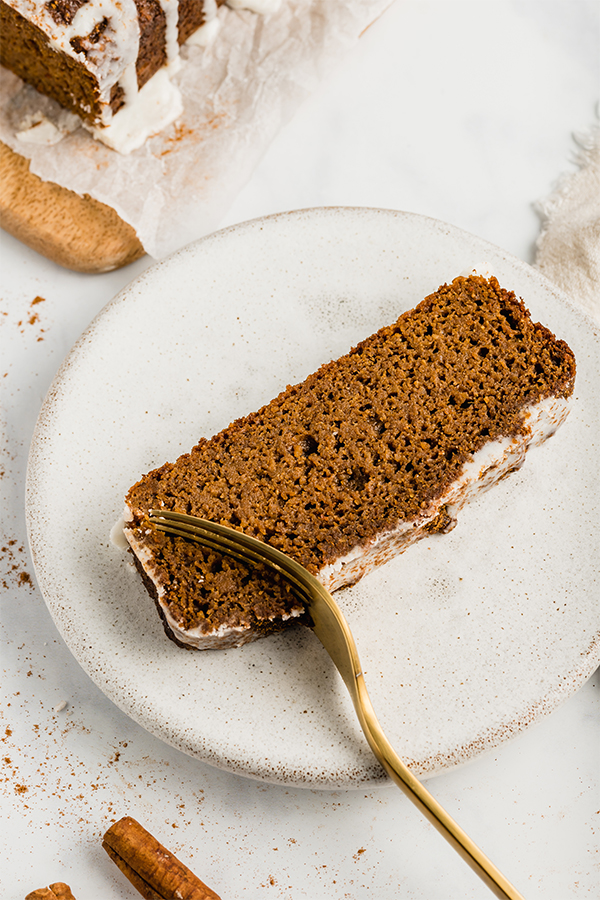 sweet potato gingerbread with a fork