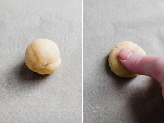 thumbprint cookie dough ball on left, thumbprint cookie dough ball with finger making thumbprint on right