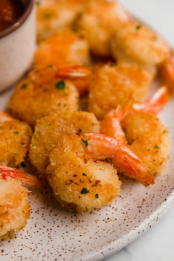 oven-baked coconut shrimp on plate