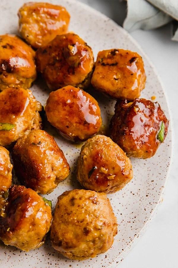 teriyaki turkey meatballs on plate