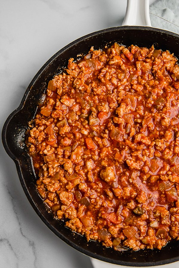 turkey sloppy joe in cast iron skillet