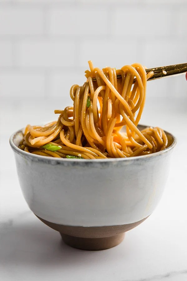 hibachi noodles in bowl with chopsticks