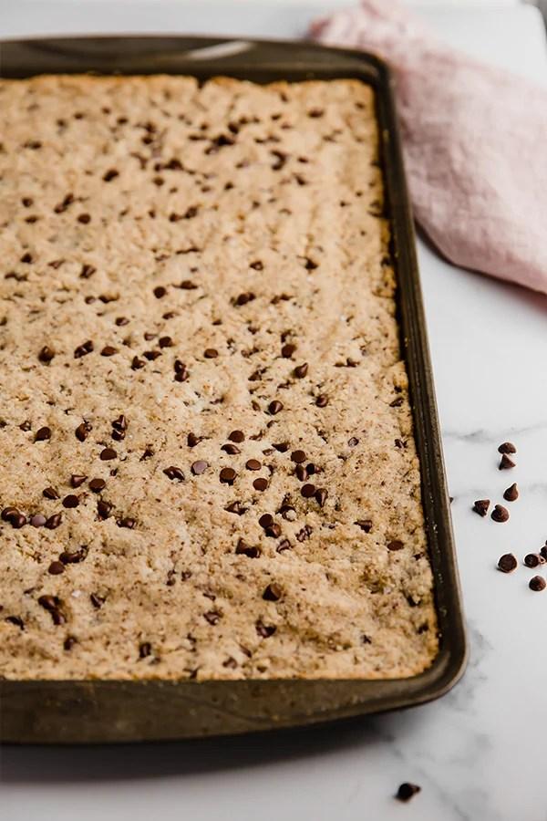 sheet pan chocolate chip cookie on pan
