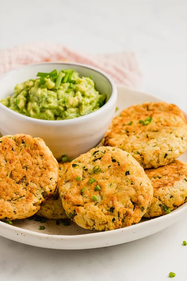baked veggie nuggets on plate with guacamole