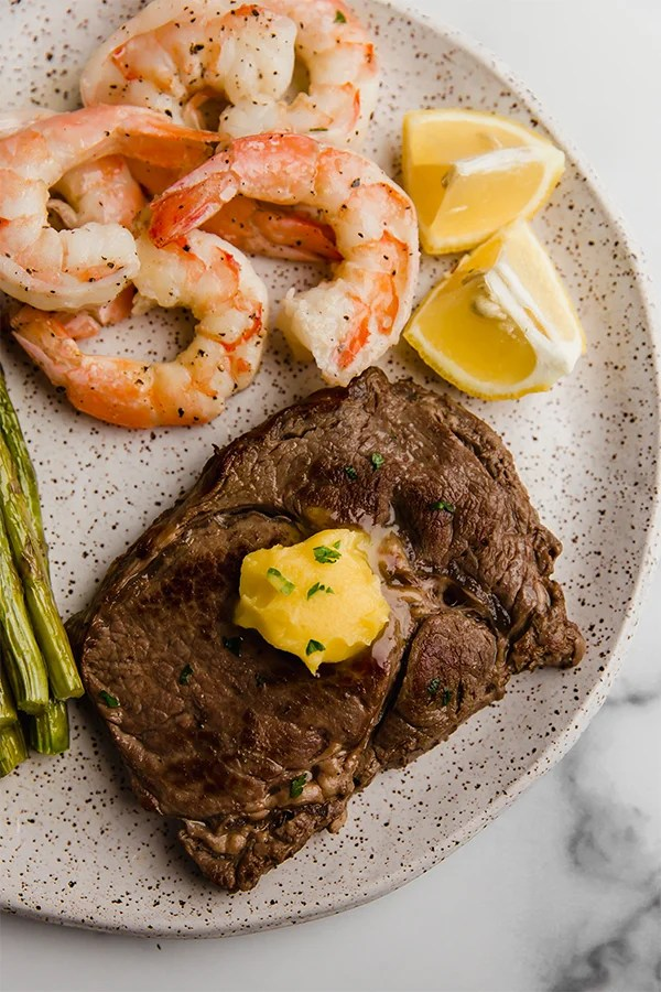 surf and turf skillet on plate