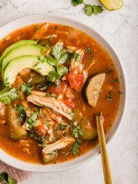 instant pot chicken no-tortilla soup in bowl