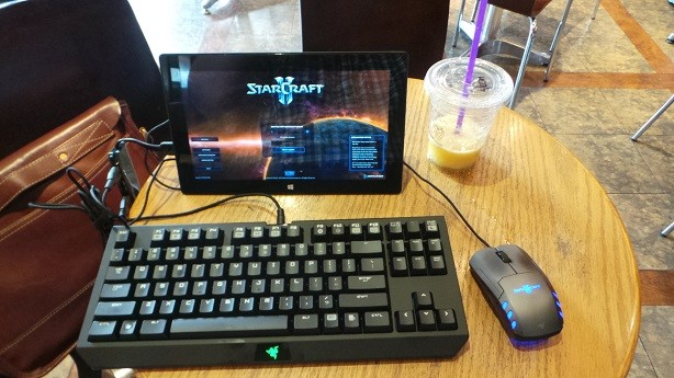 Microsoft Surface Pro (128GB) running Starcraft 2: Heart of the Swarm while connected to Razer peripherals