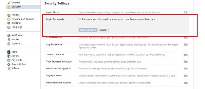 Facebook two-factor auth 1