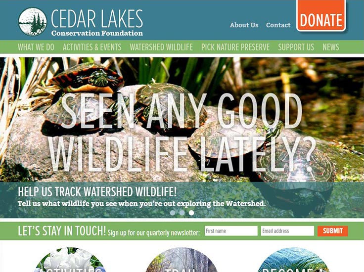 Screenshot of Cedar Lakes Conservation Foundation website