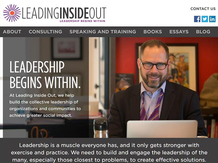 Screenshot of Leading Inside Out website