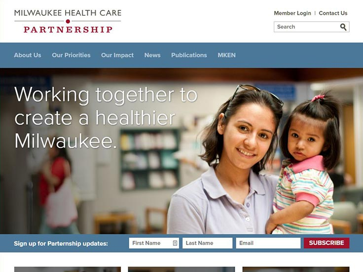 Screenshot of Milwaukee Health Care Partnership website