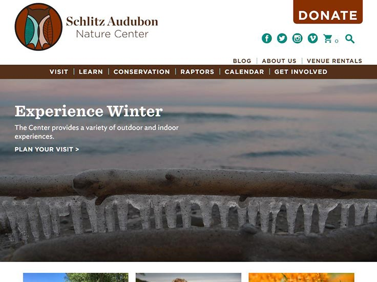 Screenshot of Schlitz Audubon Nature Center website