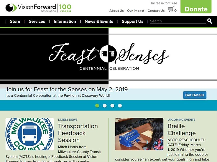 Screenshot of Vision Forward website
