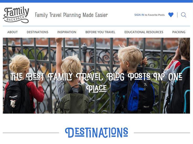 Screenshot of The Family Backpack website