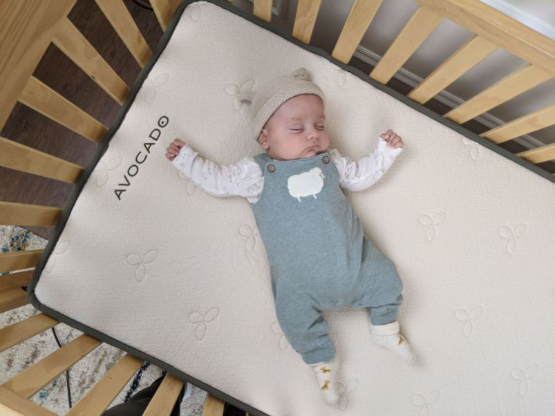 Avocado Crib Mattress with Baby