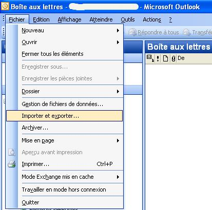 Outlook 2003 : importer