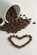 Coffee cup coffee beans and heart