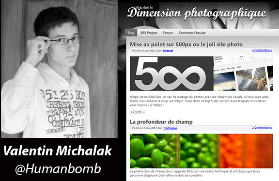 Valentin et son site Dimension-photographique.fr