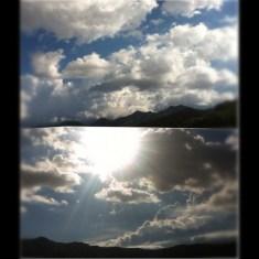 Sol brillante y día nuboso
