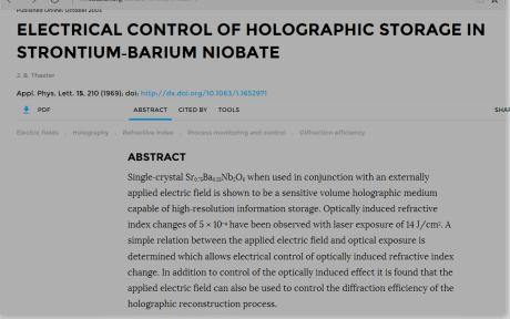 Strontium Barium Nobiate Hologram