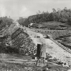 Another work site for the A&S inside Manor Township. Chief Engineer, William, H Brown, saw to it that the ablest contractors were employed to complete this challenging work promptly. The Manor section was contracted to Patricius McManus a very accomplished railroad builder and neighbor of Brown. Harry P. Stoner photograph, Kline Collection, Railroad Museum of Pennsylvania, PHMC