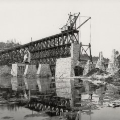 Photo of the Safe Harbor Trestle partially completed. Collection of the Columbia Historic Preservation Society, Columbia, PA.