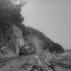 Steam locomotive on the A&S. David H. Mellinger Collection, courtesy of Scott E. Kriner, Conestoga, PA