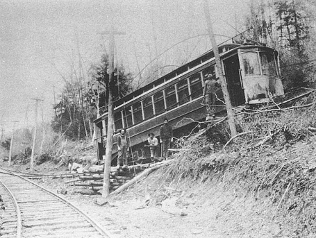 Secured by cribbing and cables, L&YF No. 1 is being returned to the tracks at Martic Forge in 1908.