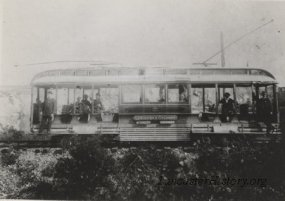 """Pennsylvania Traction Company car no. 2 photographed circa 1894 just east of Columbia at Stoner's Quarry. The destination sign reads, """"Lancaster and Columbia"""" and """"Chickies Park - Marietta."""""""