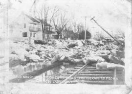 Ice Freshet deposited on the C&PDRR tracks 1904. In this year the river froze over and heavy rains up river caused the ice to break up. Heavy damage occurred.