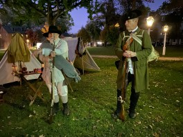 Revolutionary War soldiers outside the Brothers' House