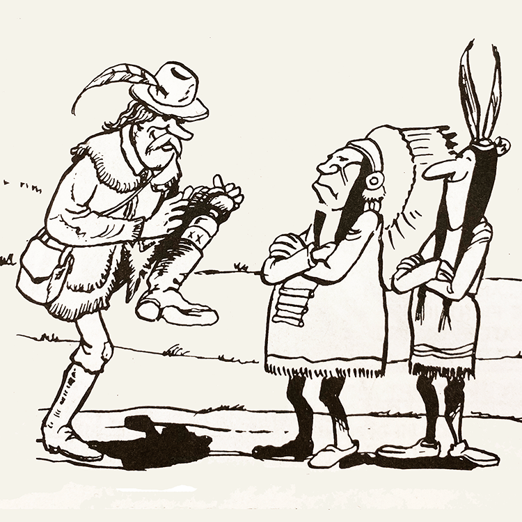 Cartoon drawing of a bootlegger selling liquor to two Native Americans.