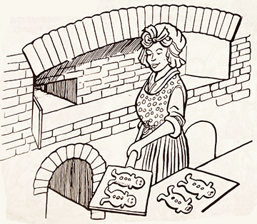 Cartoon image of a woman baking Christmas cookies