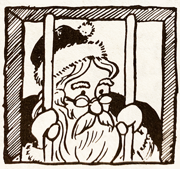 War on Christmas. Santa in jail.